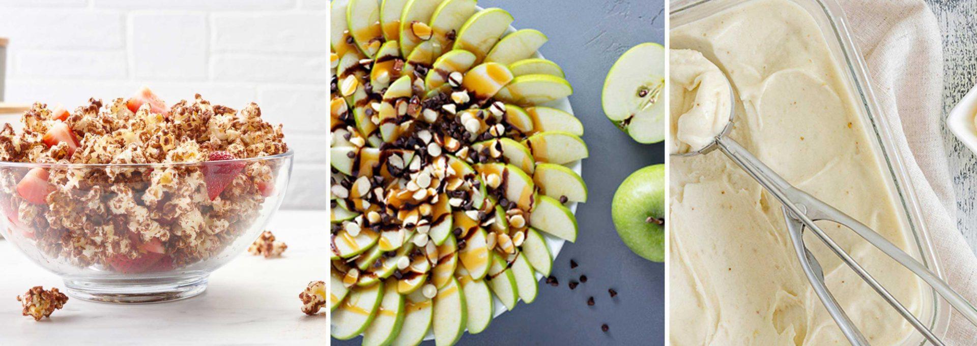 Three photos of healthy snacks: apple nachos, chocolate protein popcorn and banana ice cream.