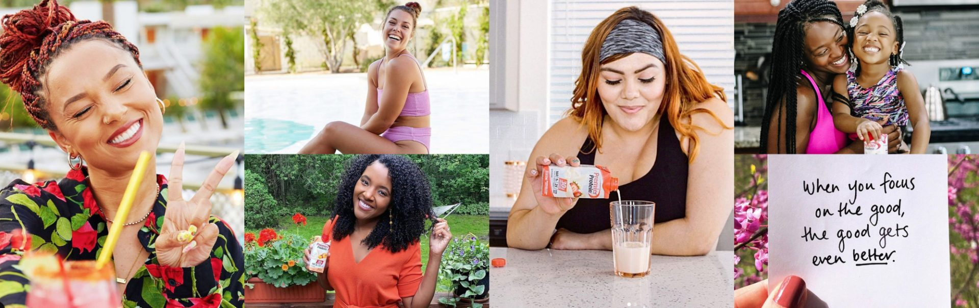 A long collage of healthy women living their best life.