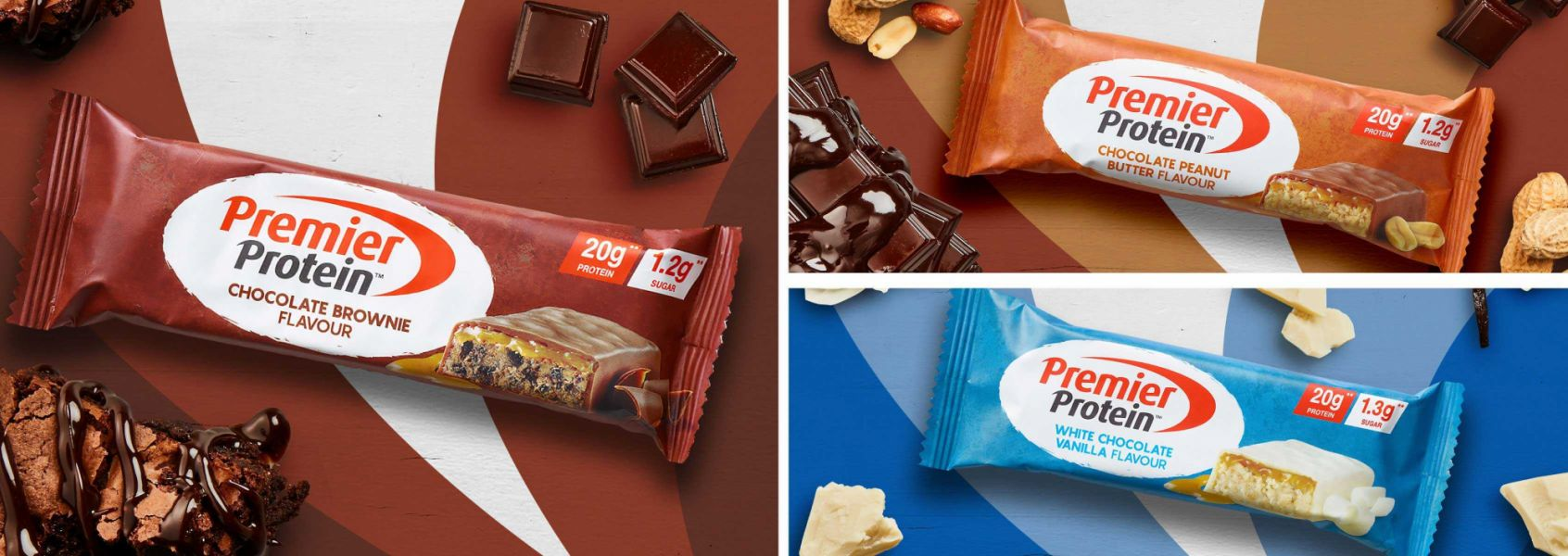 Photo of the Premier Protein Protein Bars Family.