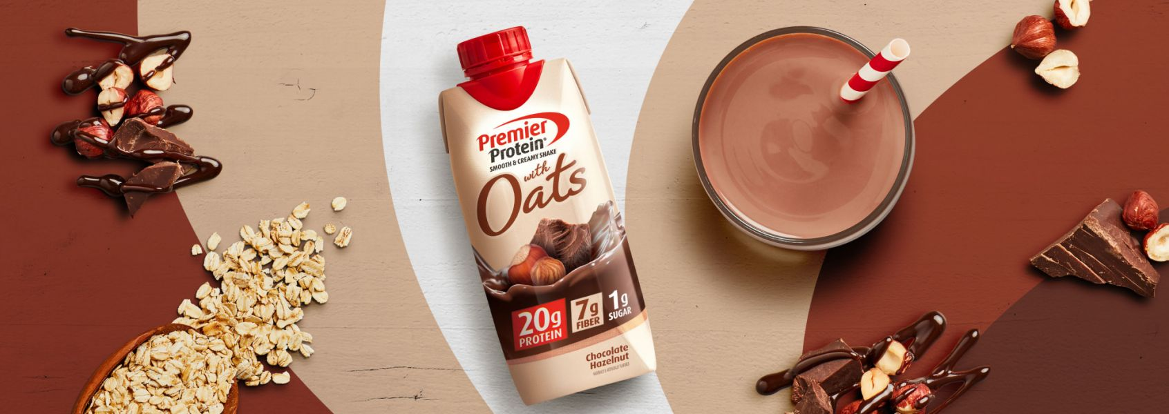 A photo of Premier Protein Chocolate Hazelnut Protein Shake with Oats