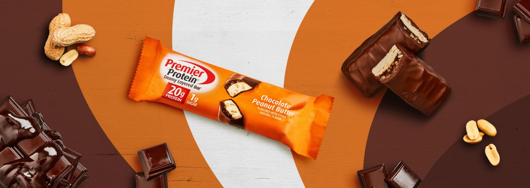 A photo of Premier Protein 20g Chocolate Peanut Butter Protein Bar
