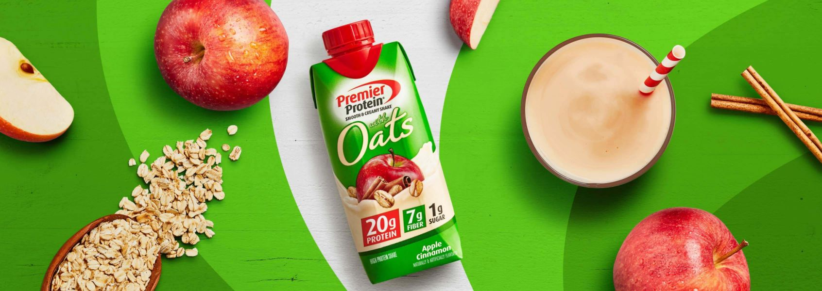 A photo of Premier Protein Apple Cinnamon Protein Shake with Oats