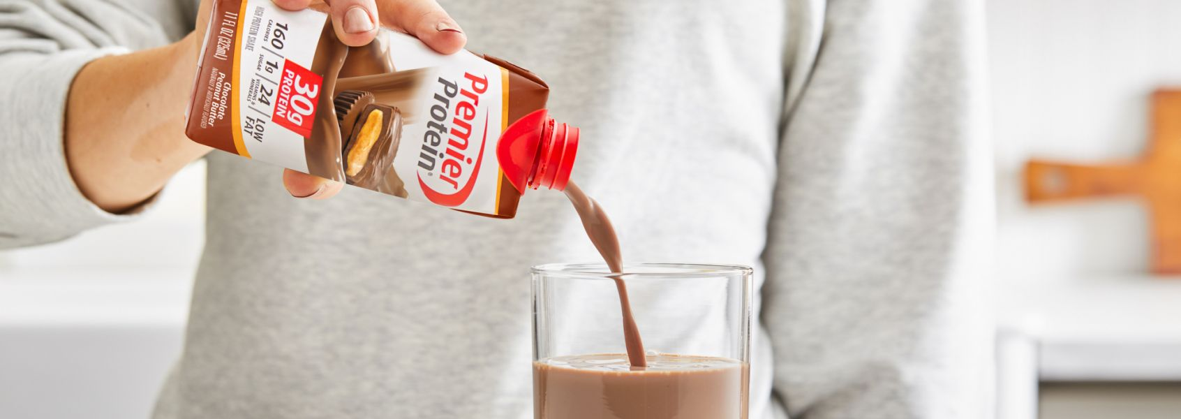 A photo of Premier Protein Chocolate Peanut Butter Protein Shake