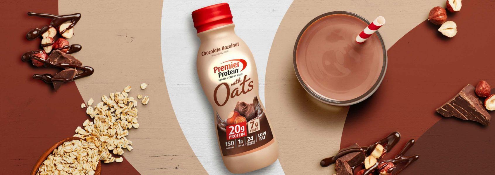 A photo of Premier Protein 11.5oz Chocolate Hazelnut Protein Shake with Oats