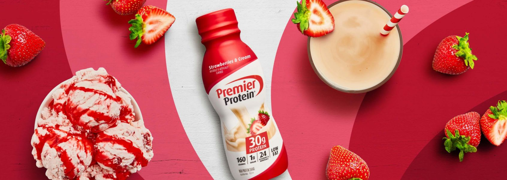 A photo of Premier Protein 11.5oz Strawberries & Cream Protein Shake