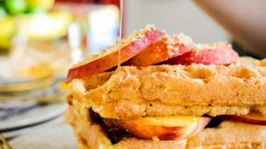 Featured image for Peaches & Cream Protein Waffles