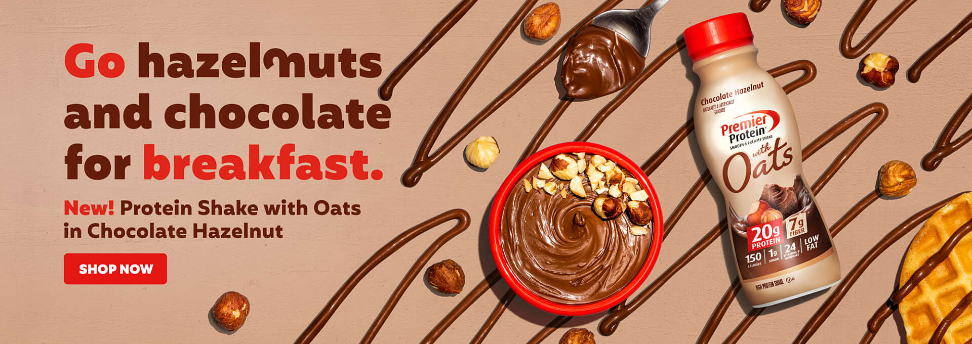 Go hazelnuts and chocolate for breakfast!