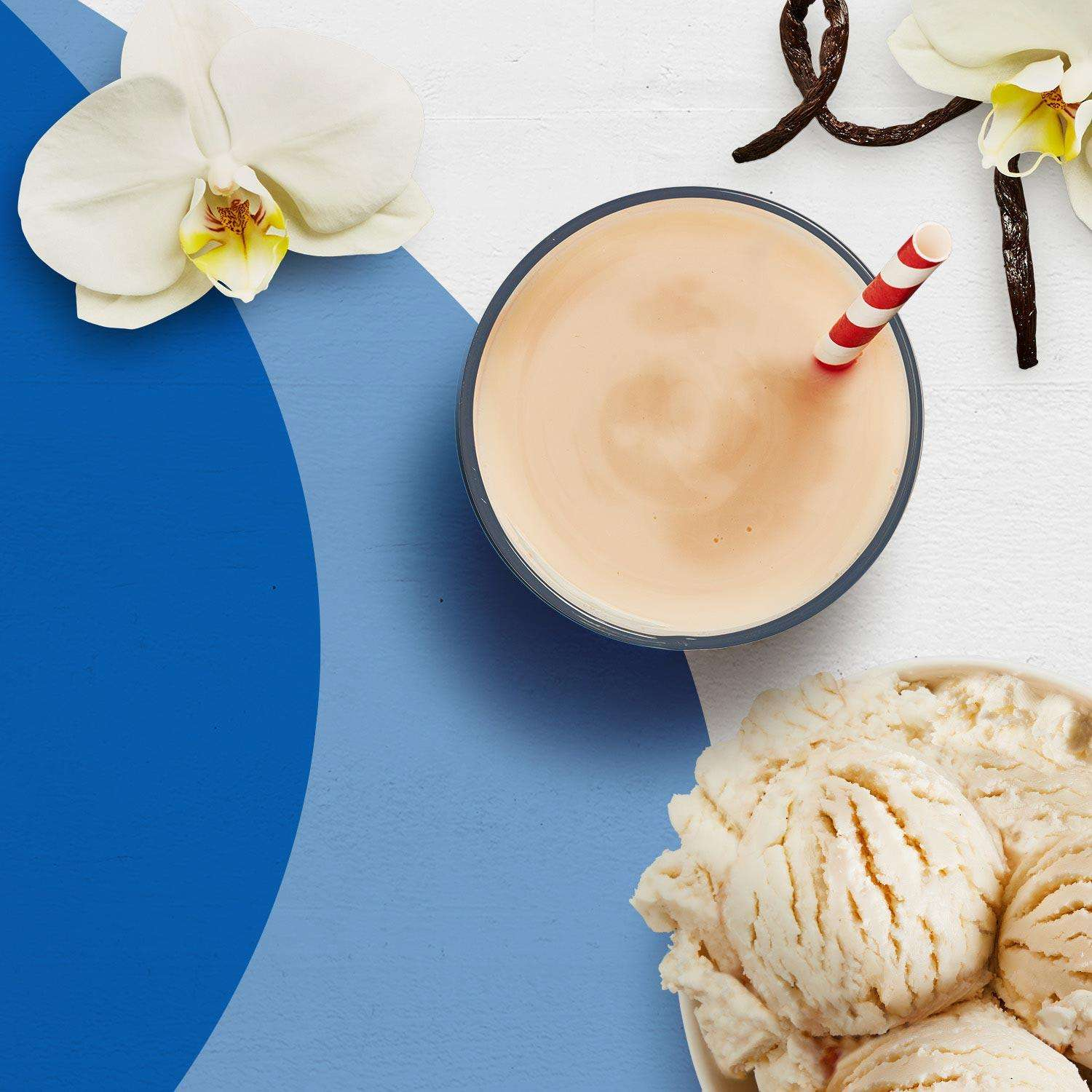 A vanilla Premier Protein shake surrounded by a bowl of vanilla ice cream, and a vanilla bean.