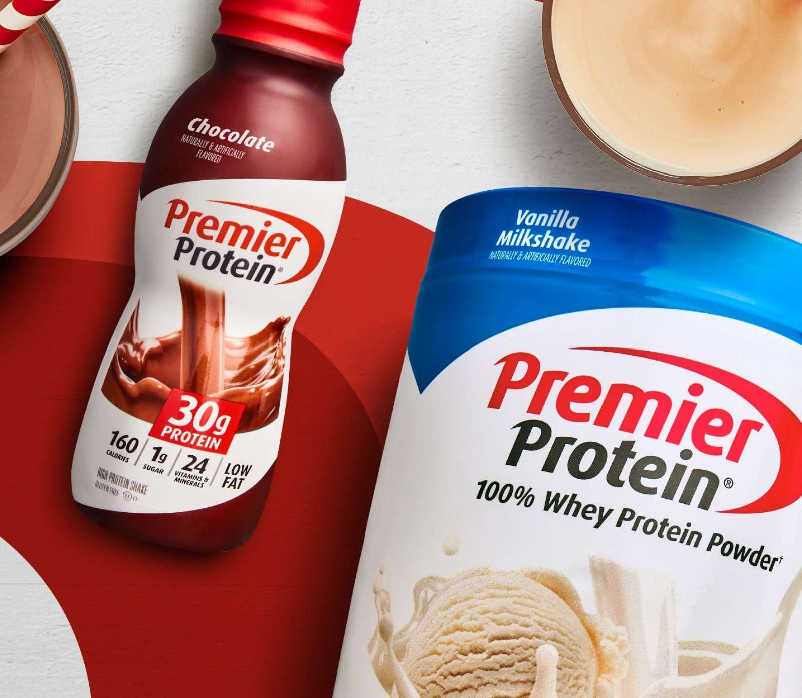 A Premier Protein shake next to Premier Protein Powder.