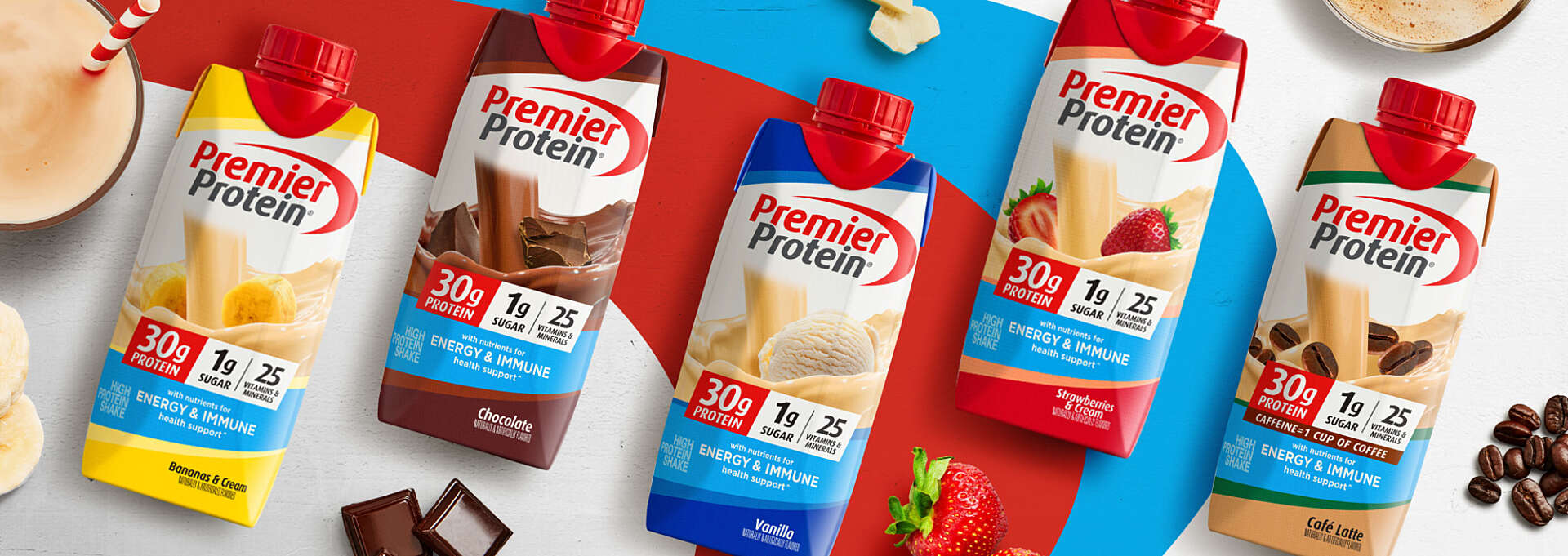Five Premier Protein tetra bottles at Costco with new branding.
