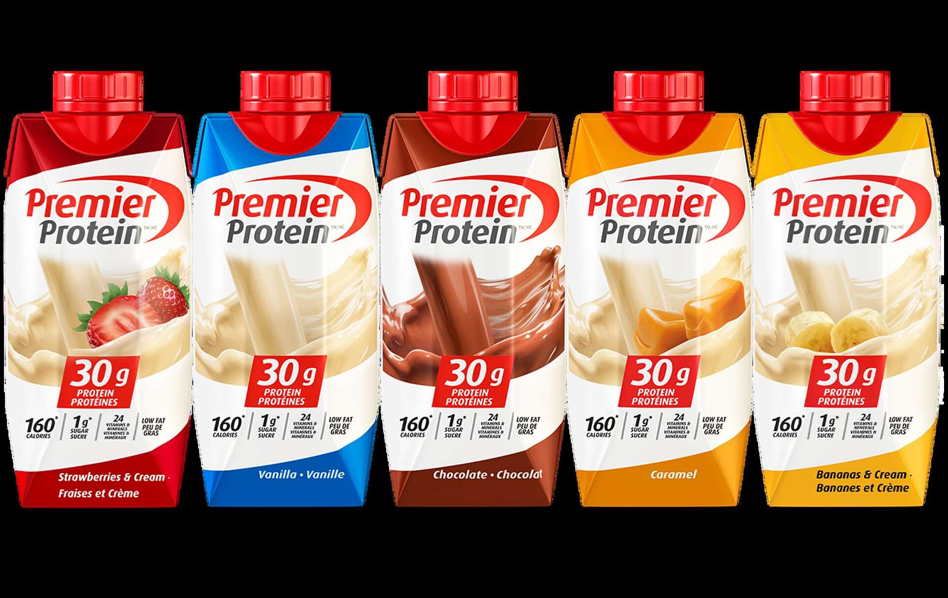 Une variété de boissons protéinées Premier Protein.