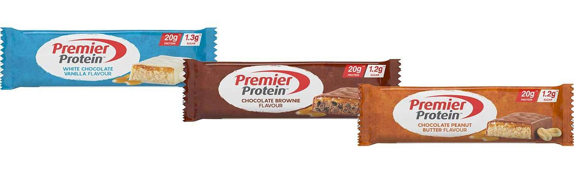 Premier Protein Bars: White Chocolate, Chocolate Brownie and Chocolate Peanut Butter.
