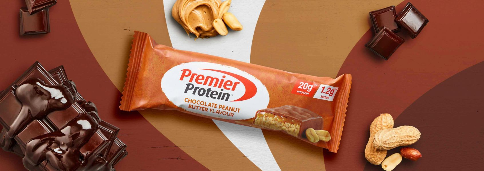 A photo of Premier Protein Chocolate Peanut Butter Protein Bar