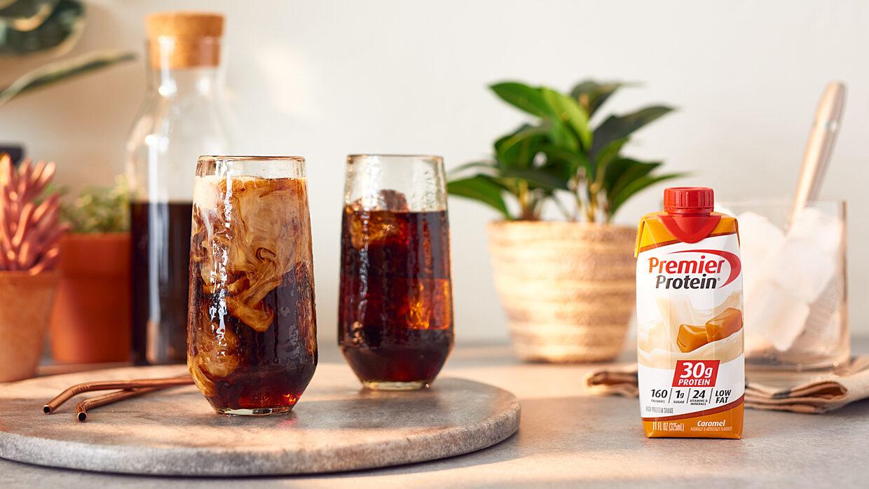 Premier Social June Webiced caramel coffee