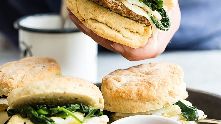Recipe image for: Egg White & Spinach Breakfast Biscuits
