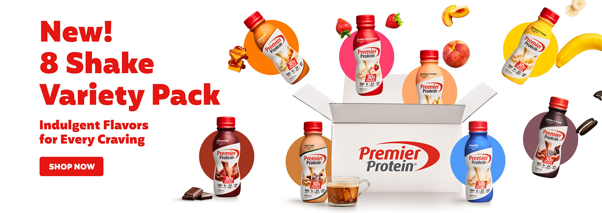 New! 8 Shake Variety Pack.  Indulgent flavors for every crazy.  Shop Now.